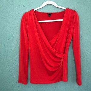 Ann Taylor Wrap Front Red Blouse Medium Petite